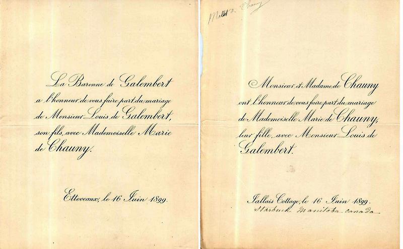 1899 Bodin de Galembert (de) Louis x Marie Mallet de Chauny 1899