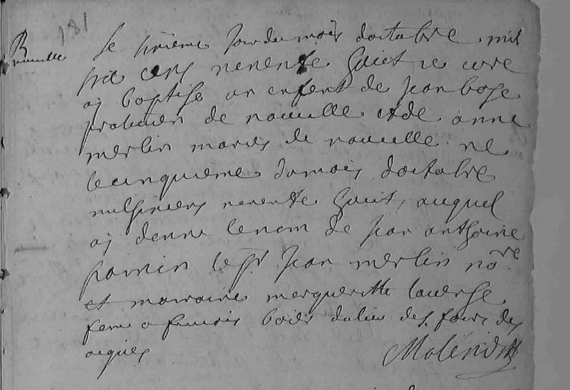 1698 Baptême Jean Anthoine Bos