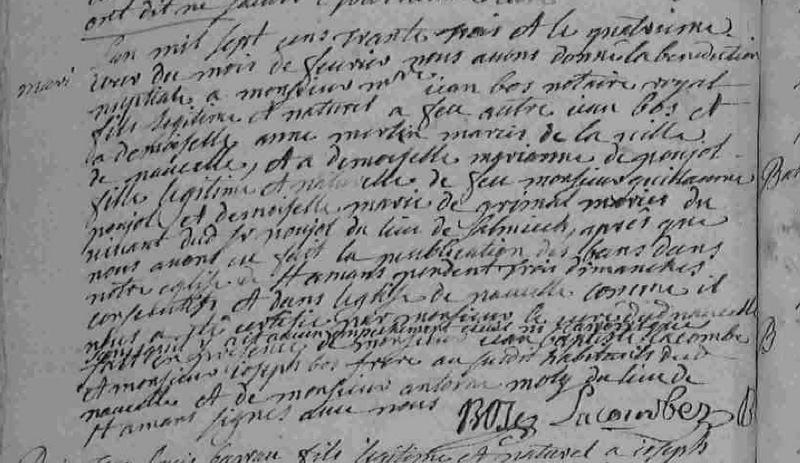 1733 Mariage Bos de Poujol