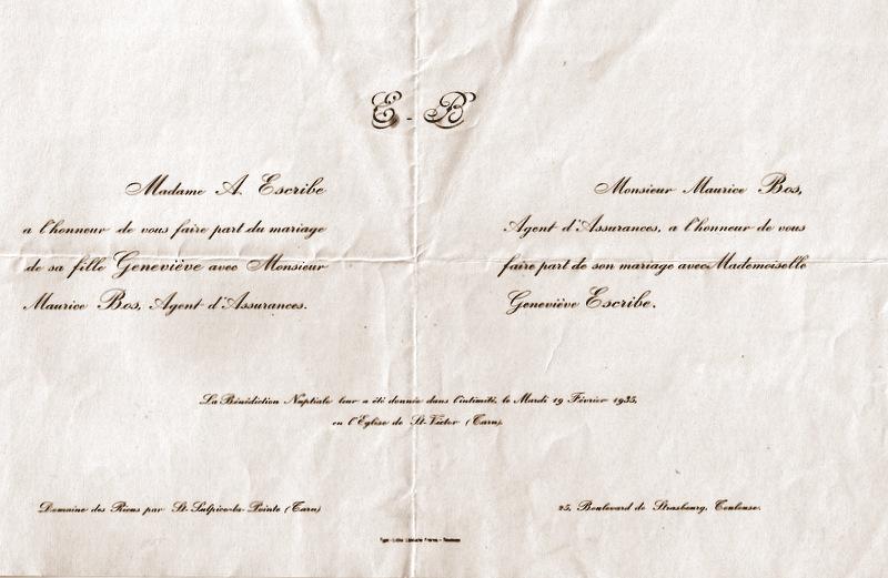 Bos Escribe Faire-part Mariage 1935
